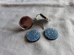 """Kit facile """"DIY"""" pour boucles d'oreilles pendantes crystal rock swarovski bleu : Kits, tutoriels bijoux par fais-le-toi-meme"""