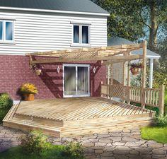 Construite près du sol, cette charmante terrasse en bois à palier unique comprend une pergola et une balustrade à barreaux sur un côté. Pergola, Balustrades, Deck, Plans, Backyard, Outdoor Structures, Landscape, Outdoor Decor, Unique