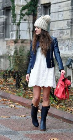 rainy day outfit... For chillier spring days, wear your wellies with your favorite spring dress, a leather jacket and a chic beanie.