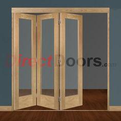 Image of Freefold Oak Pattern 10 Style Folding 3 Door Set with Clear Glass
