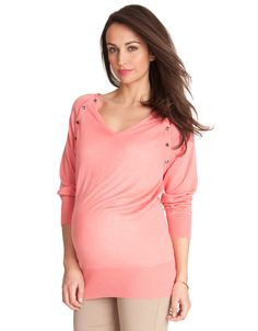 Got this and love it! Seraphine Maternity: Coral Breastfeeding V-Neck Top | @Seraphine Maternity