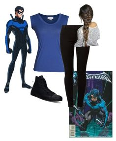 """""""#nightwing outfit"""" by al4xa ❤ liked on Polyvore featuring Wolverine, Velvet by Graham & Spencer, Dorothy Perkins and Converse"""