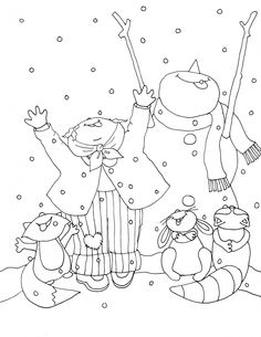 Free Dearie Dolls Digi Stamps: Christmas in July Snow Fun Coloring Pages Winter, Colouring Pics, Christmas Coloring Pages, Candlewicking Patterns, Hand Embroidery Patterns, Digi Stamps Free, Digital Stamps, Christmas In July, Christmas Colors