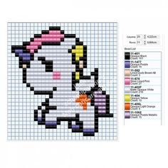 Tenero unicorno schema perline Pyssla Tiger Amazon gratis 29x31