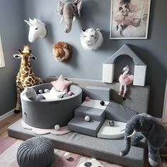 How lucky is our pouffe to be a part of this lovely soft play corner by Happy Wednesday Baby Boy Rooms, Baby Bedroom, Room Decor Bedroom, Kids Bedroom, Safari Bedroom, Elephant Nursery Decor, Baby Nursery Decor, Girl Nursery, Nursery Ideas