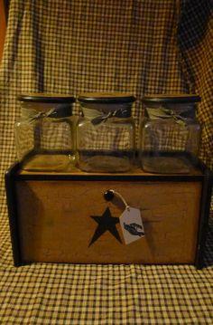 country farmhouse decor | ... Bread Box Canister Set Black Star Country Farmhouse Decor | eBay Country Farmhouse Decor, Rustic Decor, Bread Boxes, Crackle Glass, Canister Sets, Black Star, Glass Jars, Fundraising, Liquor Cabinet