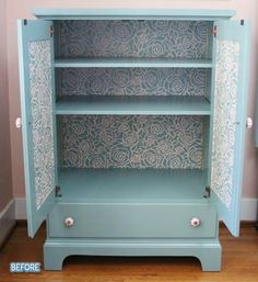 Better After: An interesting take on a TV armoire. I have one of these...