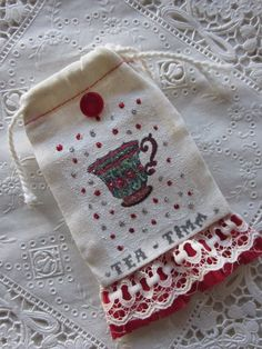 Muslin bag teacup style by starrydeborah on Etsy, $5.00