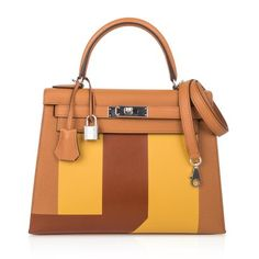 View this item and discover similar for sale at - Guaranteed authentic limited edition rare Lettre S Hermes Kelly 28 sellier bag features Toffee, Jaune Ambre and Fauve. Part of the series that spells the Unique Handbags, Popular Handbags, Best Handbags, Hermes Handbags, Fashion Handbags, Hermes Birkin, Hermes Box, Hermes Kelly 25, Toffee