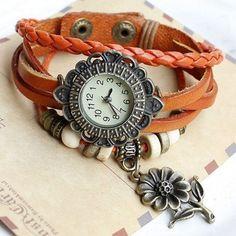 Quartz Sunflower Weave Wrap Synthetic Leather Bracelet Women's Wrist Watch