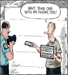 Never miss an opportunity. #selfie #mugshot #photographer #priorities #darkstories Cartoon Jokes, Funny Cartoons, Funny Comics, Speed Bump Comic, Lawyer Humor, Police Humor, Cops Humor, Drunk Humor, Ecards Humor