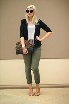 black blazer, olive pants, pink top