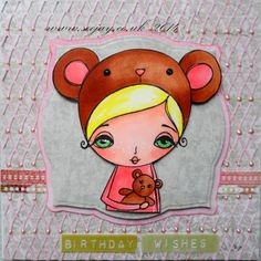 Dilly Beans - Green and pink card