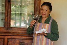 Denise enjoying vino at Castello Sonnino on Viaggi di Gusto trip to Tuscany & Cinque Terre.
