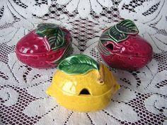 Set of 3 ViNTaGe Red Strawberry & Yellow Lemon Fruit Figurine Jam/Jelly Jar/Pots Jelly Jars, Marmalade, Strawberries, Watermelon, Pots, Lemon, Honey, Fruit, Yellow