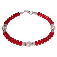 Sommerliches Armband mit roter Koralle, Chalzedon und Perlen | Perlotte Schmuck