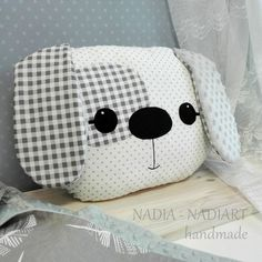 Big pillow dog kawaii style animals Cushion shaped like a Baby Pillows, Kids Pillows, Animal Pillows, Cute Sewing Projects, Sewing Crafts, Stuffed Animal Patterns, Diy Stuffed Animals, Fabric Toys, Fabric Crafts