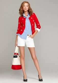 Tommy Hilfiger for my nautical costume. Hilfiger Denim, Tommy Hilfiger, Preppy Mode, Preppy Style, Style Me, Nautical Outfits, Nautical Fashion, Marken Outlet, Estilo Navy