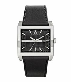 eb1e94b1fee5 Armani Exchange Rectangle Leather Watch