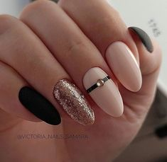 33 Natural Acrylic Black Almond & Square Nail Designs For Short Nails Page 31 of 33 Nude Nails, Matte Nails, Glitter Nails, Acrylic Nails, Square Nail Designs, Short Nail Designs, Hair And Nails, My Nails, Manicure E Pedicure