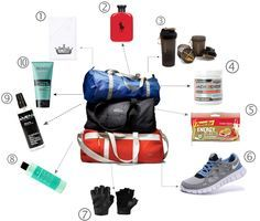 In this post i will show you my MEN GYM BAG ESSENTIALS . From supplements, energy bar and clothes i will cover everything. Travel Bag Essentials, Workout Essentials, Mens Essentials, Workout Gear, Mens Gym Bag, Gym Gear For Men, Mens Gear, Sport Fashion, Mens Fashion