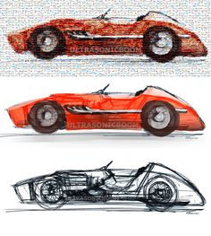 Vintage F1 Racing Car Mosaic Photo Collage of my by ULTRASONICBOOM