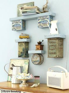 Use vintage tins to make shelves