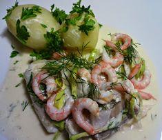 Edels Mat & Vin: Ovnsbakt torskefilet med reker og dill ! Fresh Rolls, Asparagus, Potato Salad, Healthy Recipes, Healthy Foods, Food And Drink, Vegetables, Hot, Ethnic Recipes