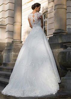 comprar Vestidos de novia de tul de fascinación joya cuello del A-line con apliques de encaje de descuento en Dressilyme.com