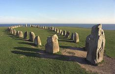 Ales Stenar (Ale's Stones), a ship setting from the stone age CE). It is 67 metres long formed by 59 large boulders. Ancient Artefacts, Ancient Civilizations, Stonehenge, Statues, Places To Travel, Places To Visit, Travel Destinations, Ale, Lappland