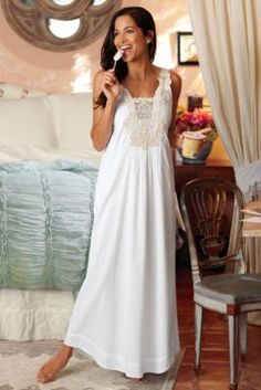 Isabella Gown - Long White Nightgown, Night Gowns, Sleepwear & Robes | Soft Surroundings