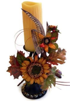Fall Silk Flower Arrangements | Fall sunflower Silk floral arrangement | Flower designs | Pinterest