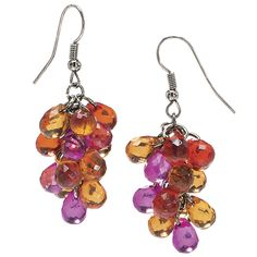 $12.98 Multicolor Faceted Beads Cluster Earrings - Earrings, Necklaces, Rings, Bracelets, Pendants and More :: Unique Jewelry at Affordable Prices | Natures Jewelry