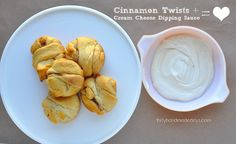 Cinnamon Twists with Cream Cheese Dipping Sauce - super easy to make but taste oh so good!