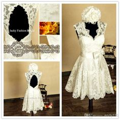 2014 White a Line Short Sweetheart Hollow Back Ribbons Bow Lace Wedding Dresses