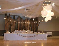 Barnboard backdrop, lantern lighting