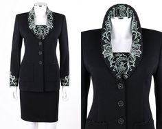 ST JOHN 3 Pc Black Santana Knit Embroidered Blazer Tank Top Skirt Suit Set 2 / 4 #StJohn #SkirtSuit
