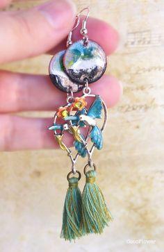 Boucle d oreille Colibri Oiseau Animal tropical Bijoux émaux Cuivre émaillé paysage Crochet argent 925 Tassel frange
