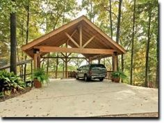 Wooden Carports Timber Framed Carport With Queen Post Kingpost Trusses Timberframe In 2019 Carport Garage Carport Carport Trusses Carport Kits Timber Carports C Carport Kits, Carport Plans, Carport Garage, Carport Ideas, Garage Plans, Pergola Kits, Wooden Carports, Rv Carports, Timber Garage