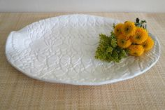 Large Lacy White Oval Serving Tray — C.D. Vass Pottery