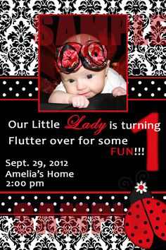 Ladybug themed girls first birthday bloomers pinterest ladybug classy ladybug 1st birthday invite digital file you by monkiestuff 1200 solutioingenieria Choice Image