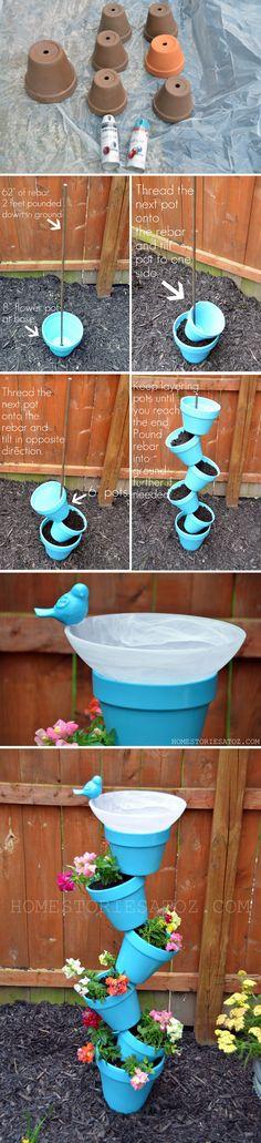DIY Planter and Bird Bath | Easy Backyard Project for Plants by DIY Ready at  http://diyready.com/easy-backyard-projects/