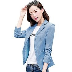3afcdacc99206 EXIU Women s Business Blazer Suit Casual One Button Long Sleeve Office  Jacket at Amazon Women s Clothing store