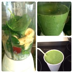 Apple Banana green smoothie. Ingredients: 1 apple, 1 banana, a handful of spinach, coconut milk, coconut water, and vanilla Greek yogurt.