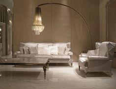 Nella Vetrina Visionnaire Murano Graal Luxury Floor Lamp  in Champagne Aluminum Plates Adorned with Swarovski Crystals