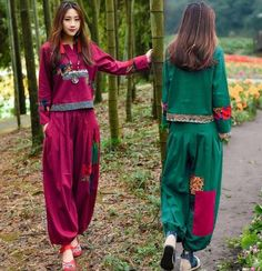 Chinese Women's Suits Coat Trousers Chic Loose Fit Two-Pieces Set Floral Fashion