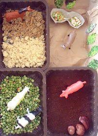Small world farm sensory bin.