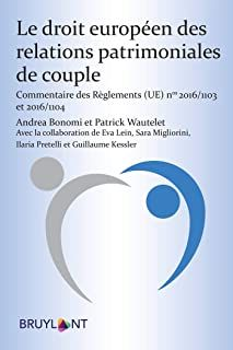 Le droit européen des relations patrimoniales de couple : commentaire des réglements 2016-1103 et 2016-1104 / Andrea Bonomi et Patrick Wautelet. Larcier, 2020 Nova, Couple, Comment, Relationships, Couples