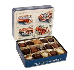 Gifts delivered UK and International - Send the Belgian Truffles in Classic Cars Gift Tin Belgian Truffles, Chocolate Hampers, Gifts Delivered, Tin Gifts, Cute Gifts, Fathers Day Gifts, Classic Cars, Beautiful Gifts, Vintage Classic Cars