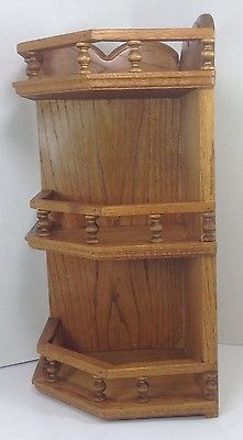 Vintage Oak Corner Wall Shelf Knick Knack Display Unit 3 Solid Wood Shelves